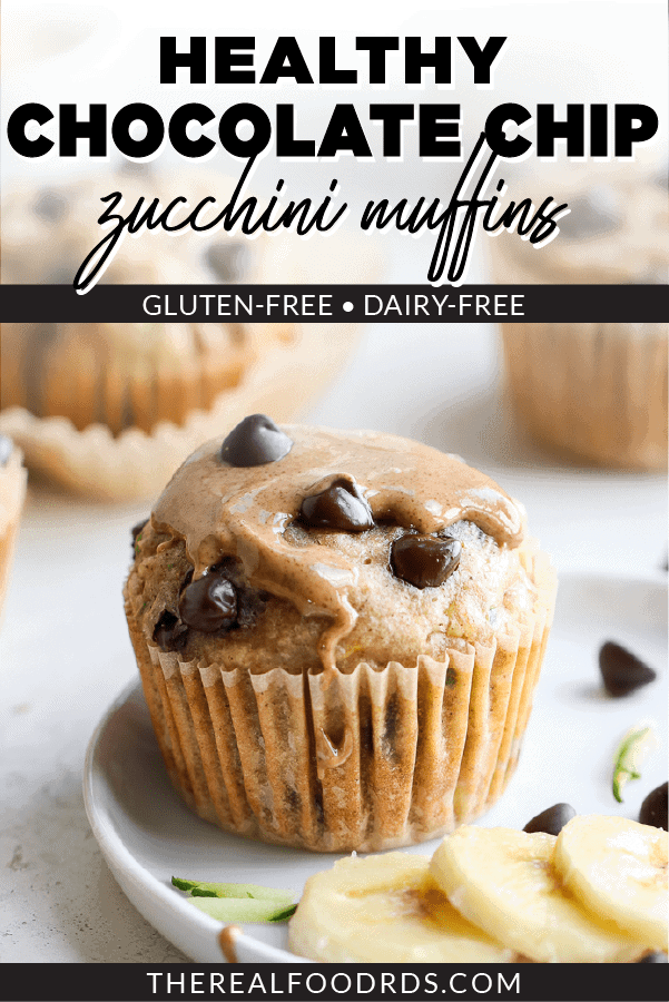 Pin image for Gluten-free Chocolate Chip Zucchini Muffins