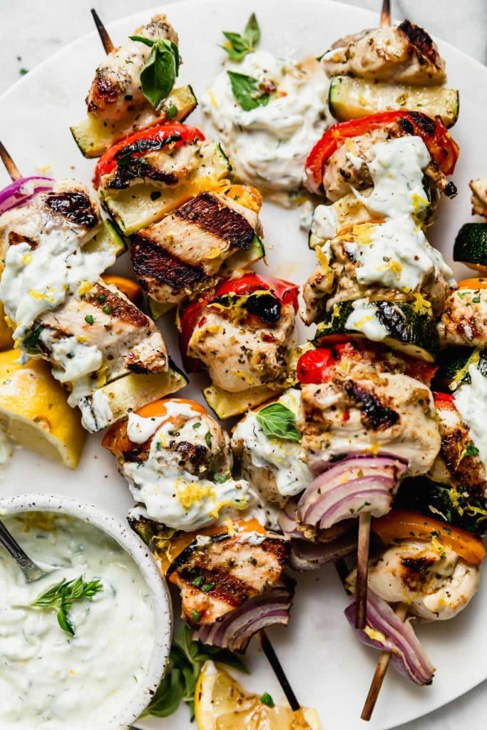 Photo of Greek Chicken Kebabs with Tzatziki Sauce.