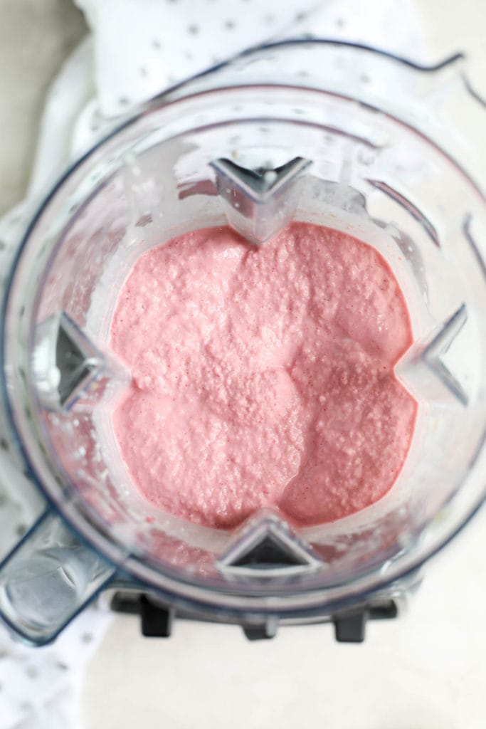 Strawberry Cheesecake Smoothie Pops Getting Blended