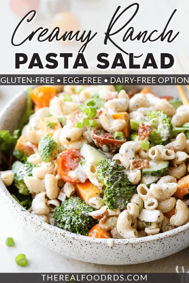 Pin image for Creamy Ranch Pasta Salad