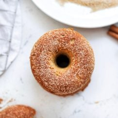 A birds eye view of a gluten-free baked pumpkin donut with cinnamon sugar coating.
