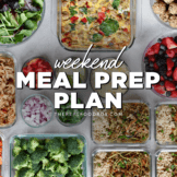 Meal prepped fruit, vegetables, and meals in glass containers