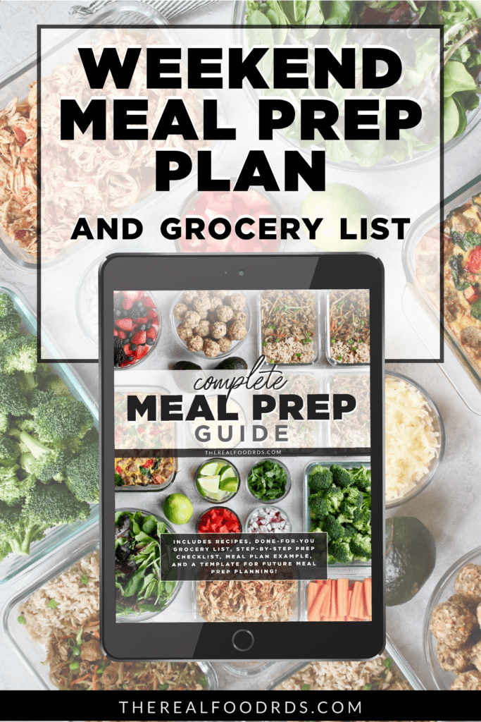A guide to a weekend meal prep complete with a grocery list