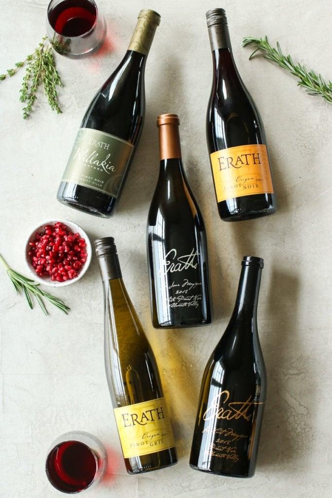 Five bottles of Erath Wine.