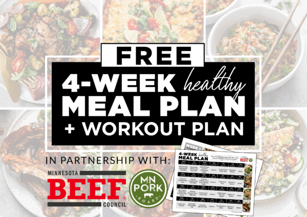 FREE 4-Week Meal Plan promotion including Minnesota beef and Minnesota pork logos.