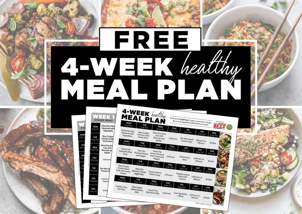 FREE 4-Week Healthy Meal Plan promo image.
