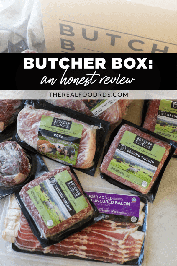 A variety of frozen packaged meat from ButcherBox with text overlay for a Pinterest pin