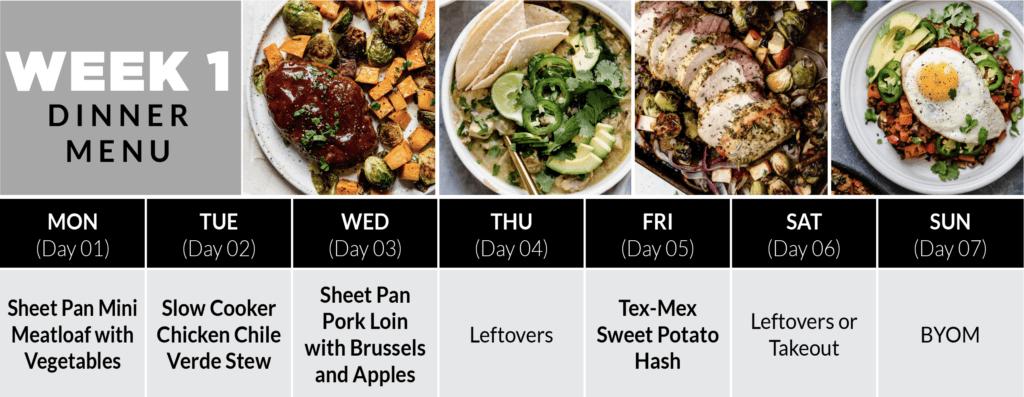 Week 1 Dinner Plan of the 4-Week Healthy Meal Plan