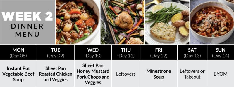 Week 2 Dinner Plan of the 4-Week Healthy Meal Plan