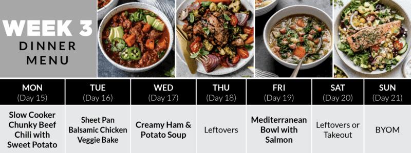 Week 3 Dinner Plan of the 4-Week Healthy Meal Plan