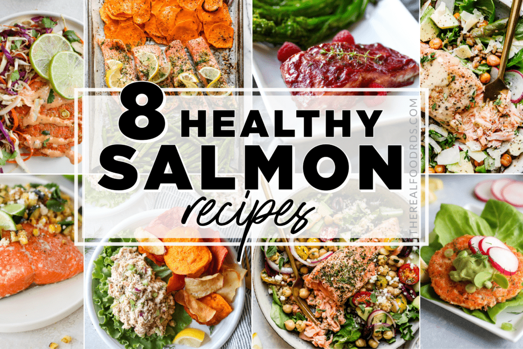 Eight different salmon meals displayed with text overlay