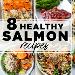 Eight healthy salmon meals in one photo