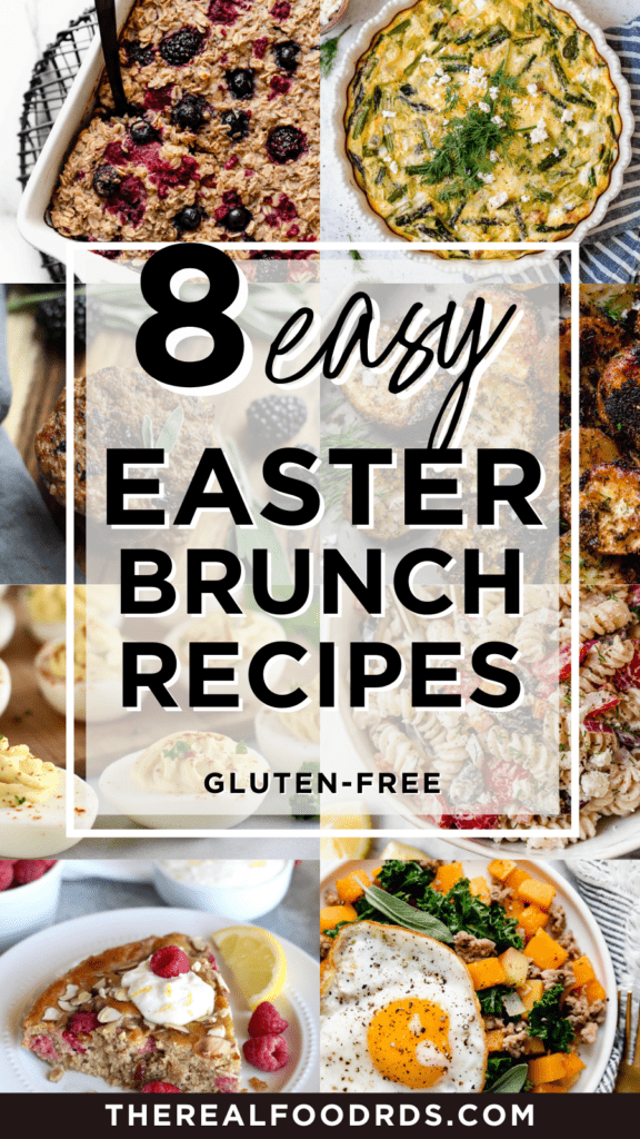 Eight different Easter brunch recipes in a collage with text overlay
