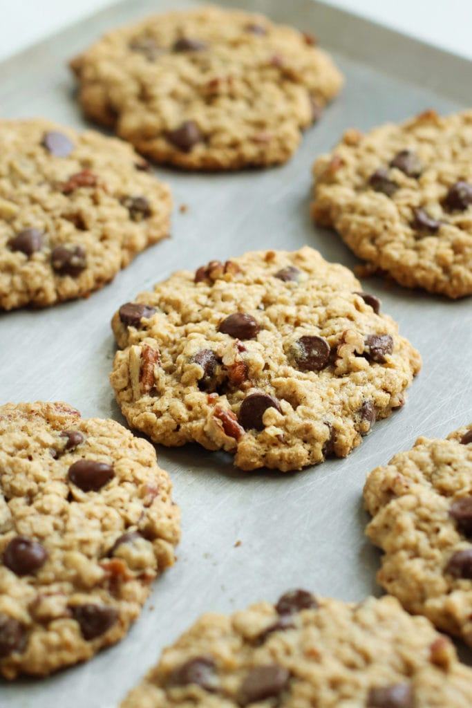 Freshly baked oatmeal chocolate chip cookies with pecans on a silver baking sheet