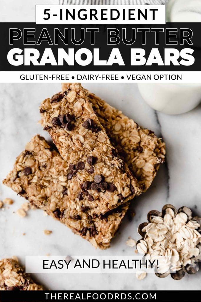 Three soft-baked peanut butter chocolate chip granola bars stacked on top of each other