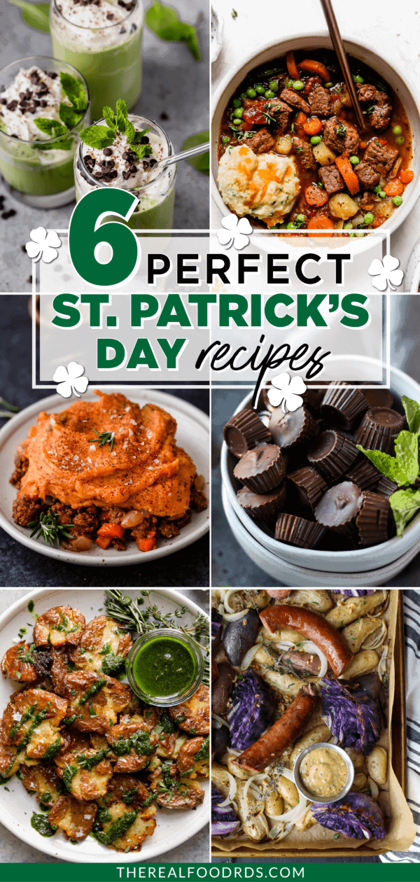 Six different St. Patrick's Day recipes in a collage with text overlay | Pinterest pin