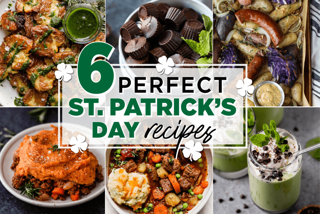 Six different real food St. Patrick's Day recipes in a collage