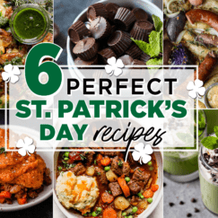 Six different St. Patrick's Day recipes in a collage