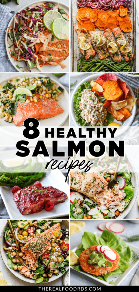 Eight different salmon meals shown on one image with text overlay | Pinterest pin