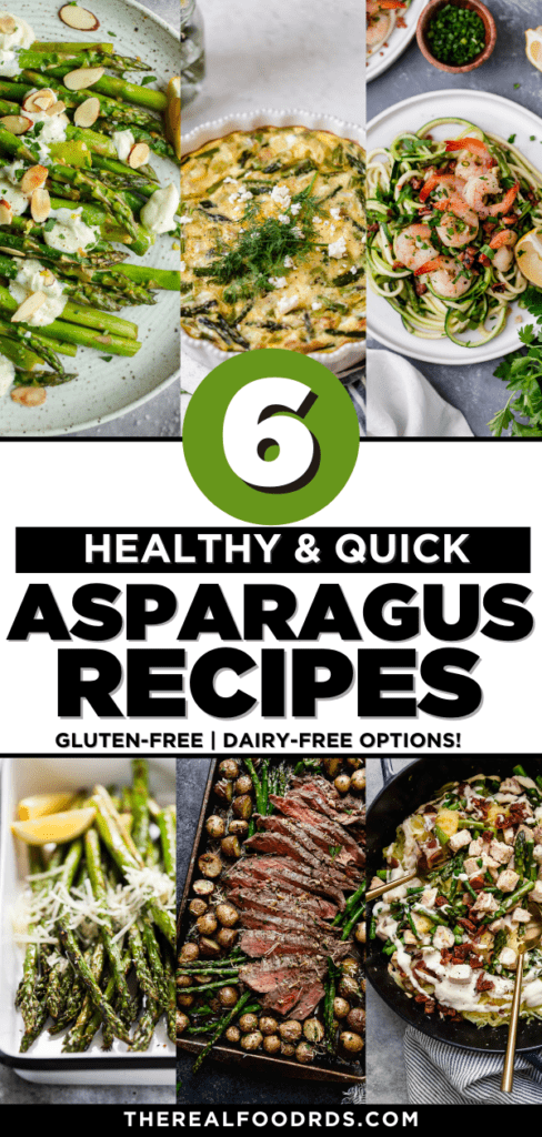 A collage of six healthy asparagus recipes with text overlay for a Pinterest pin