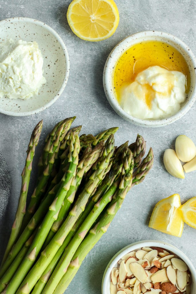 Ingredients for Sautéed Asparagus with Lemon Goat Cheese Sauce