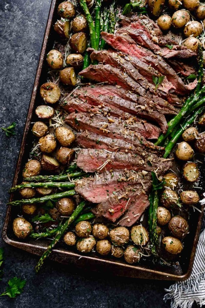 A sheet pan filled with sliced steak, roasted potatoes, and asparagus spears