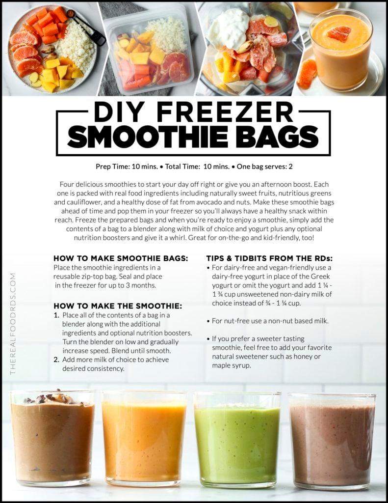 Printable DIY Freezer Smoothie Bag instructions