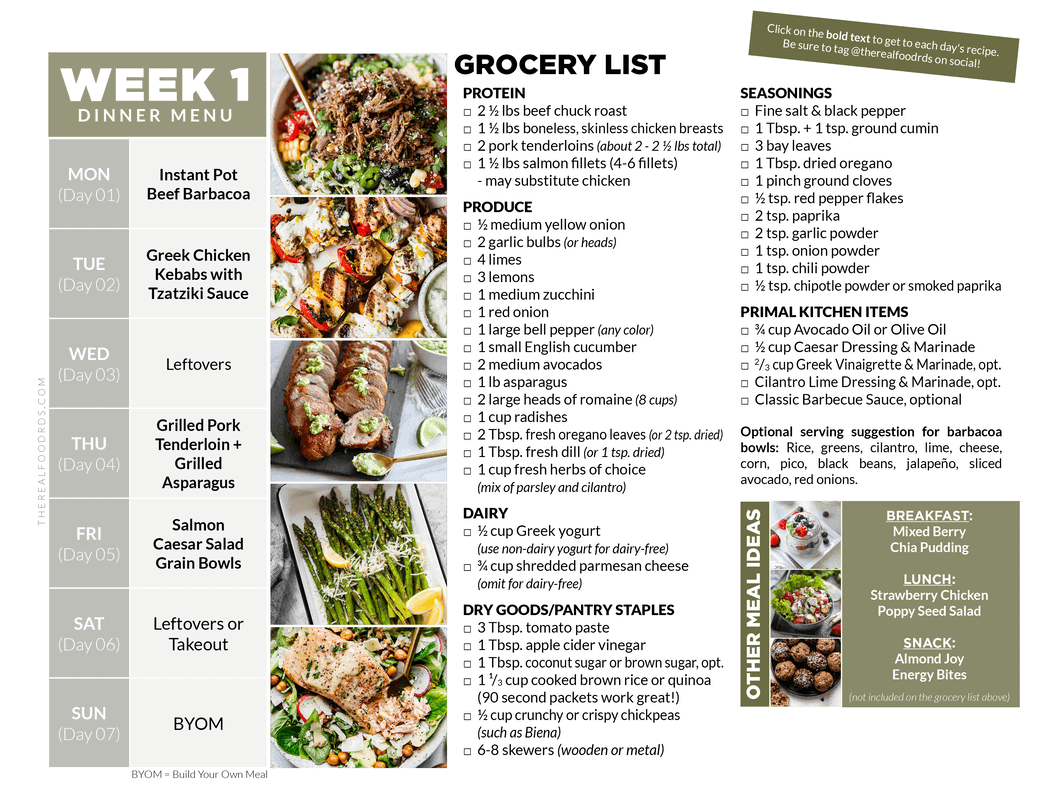 8 Week Healthy Meal Plan with Grocery List   The Real Food Dietitians