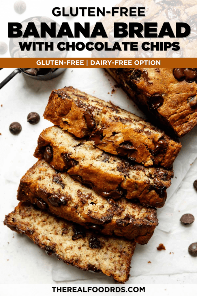 Slices of gluten-free banana bread with chocolate chips sliced and lined up