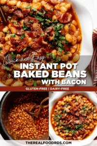Instant Pot baked beans with bacon crumbles and fresh herbs on top