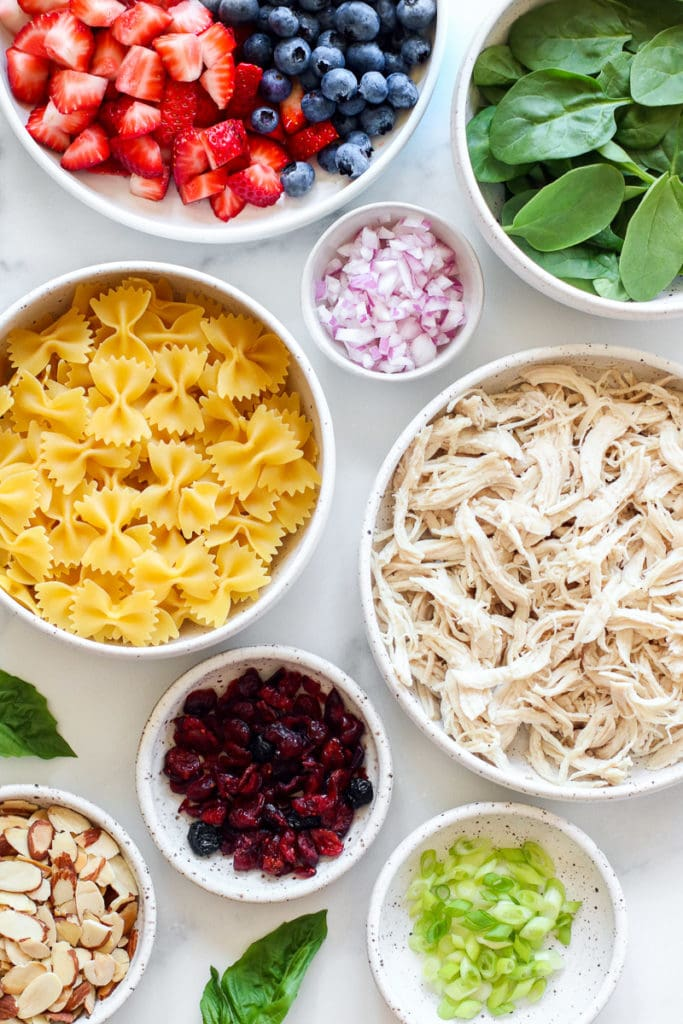 Ingredients for Summer Pasta Salad with Chicken and Berries.