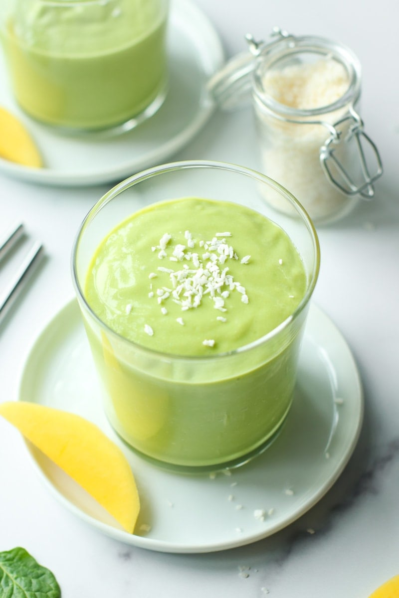 Mango Avocado Smoothie in a short clear cup