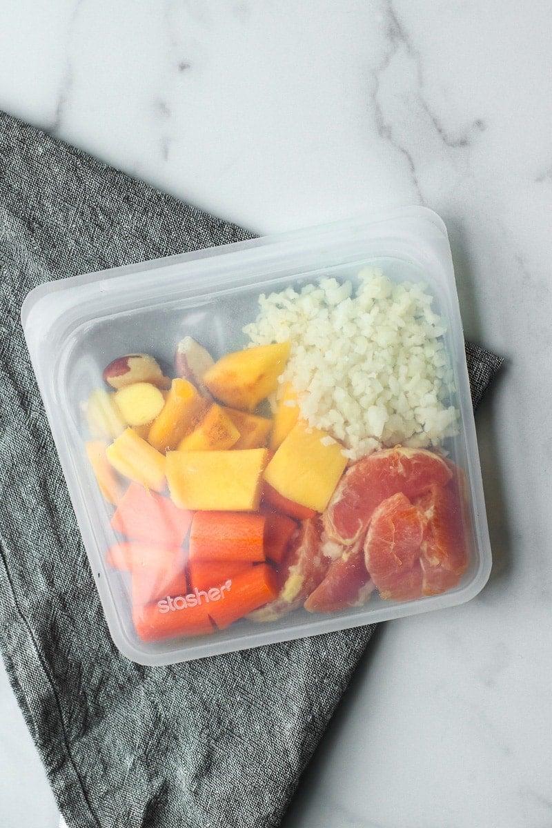 Ingredients for fresh orange smoothie bag in a resusable bag