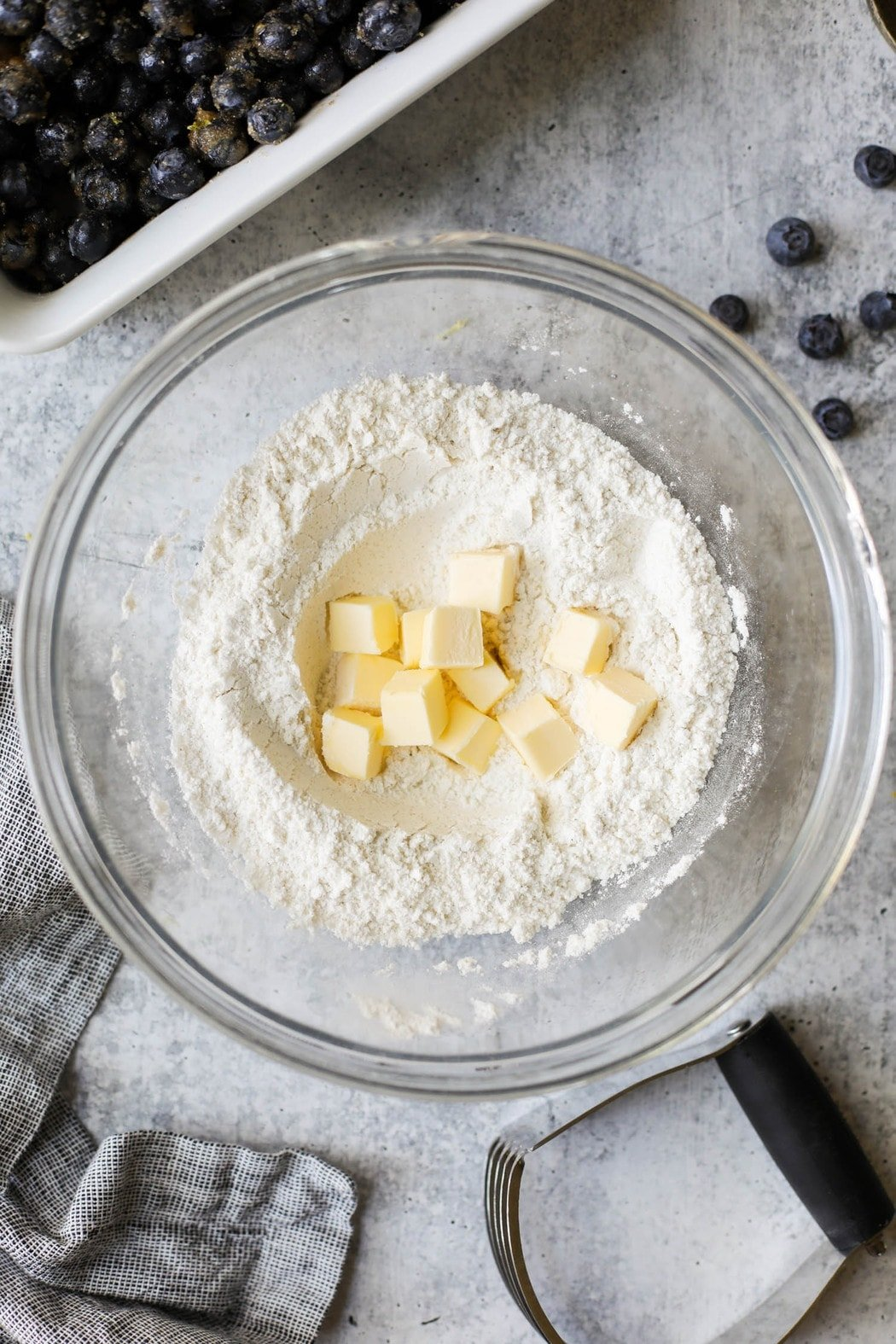 Ingredients for gluten-free biscuits in a mixing bowl