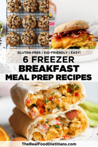 Several freezer-friendly breakfast recipes with text overlay for a Pinterest pin.