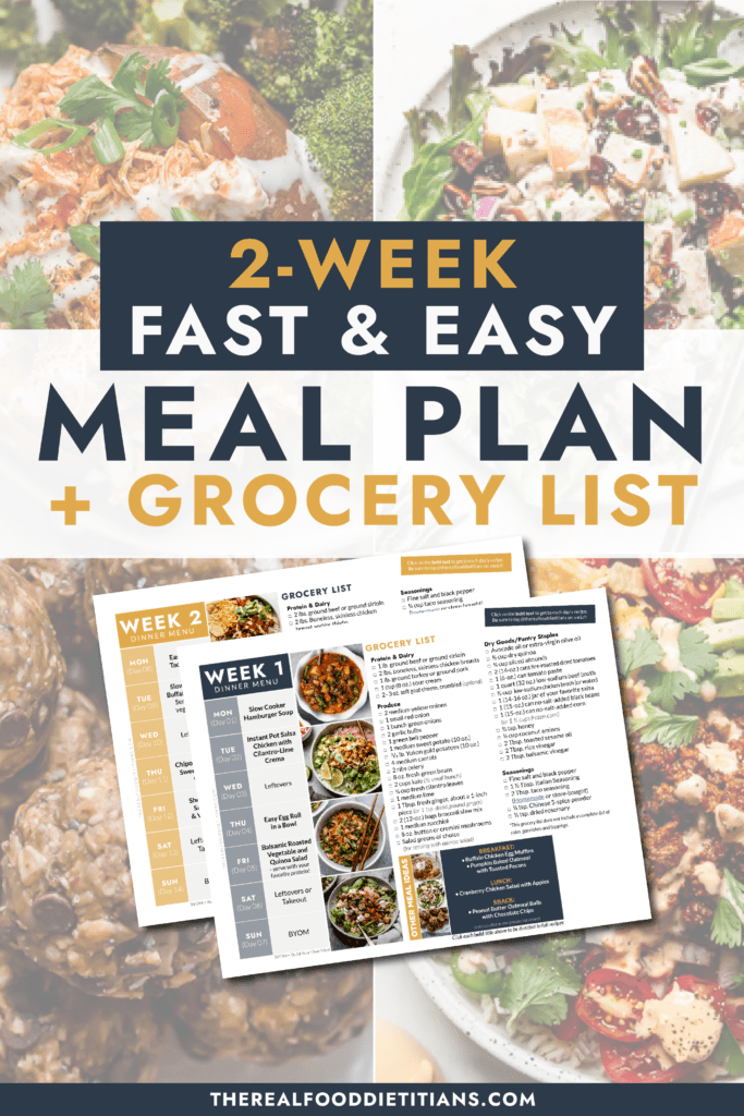 A Pinterest pin with a collage of healthy dinner recipes and a two week meal plan printable overlaid.