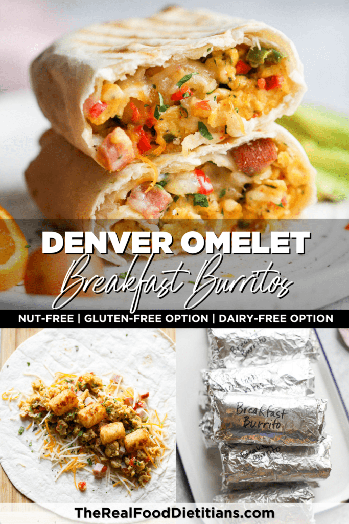 Three images of freezer breakfast burritos; breakfast burritos wrapped in foil, breakfast burrito laying flat with filling on top, fully cooked breakfast burrito cut in half plated