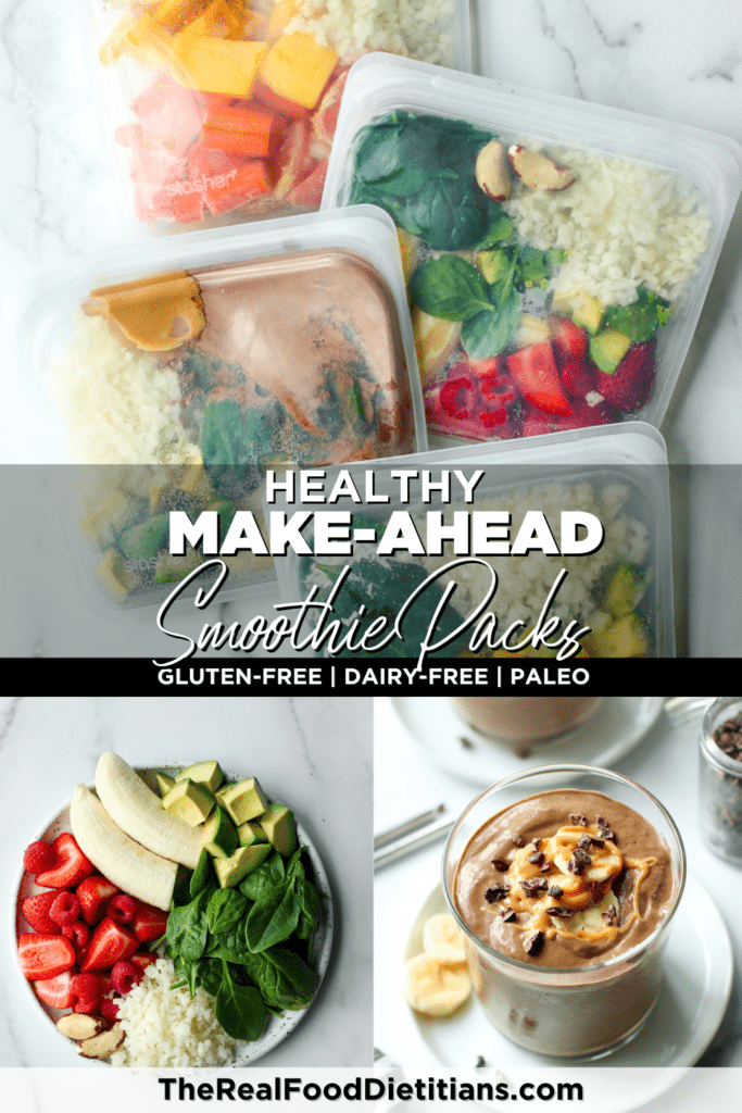 Pinterest pin collage of healthy make-ahead freezer smoothie packs