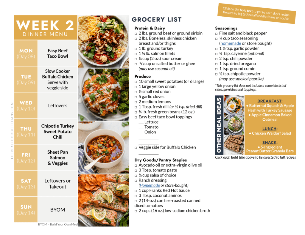 Week 2 dinner menu with images of dinner recipes on the left and grocery list on the right.