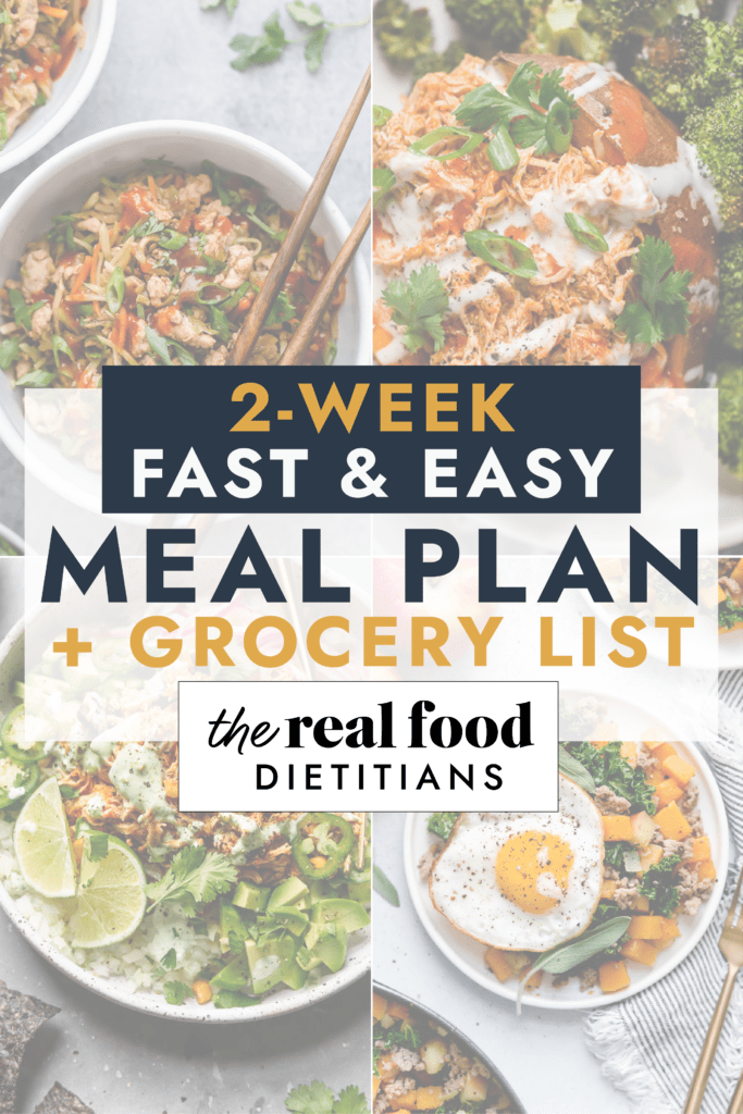 A collage of meals for a 2-week meal plan with grocery list.