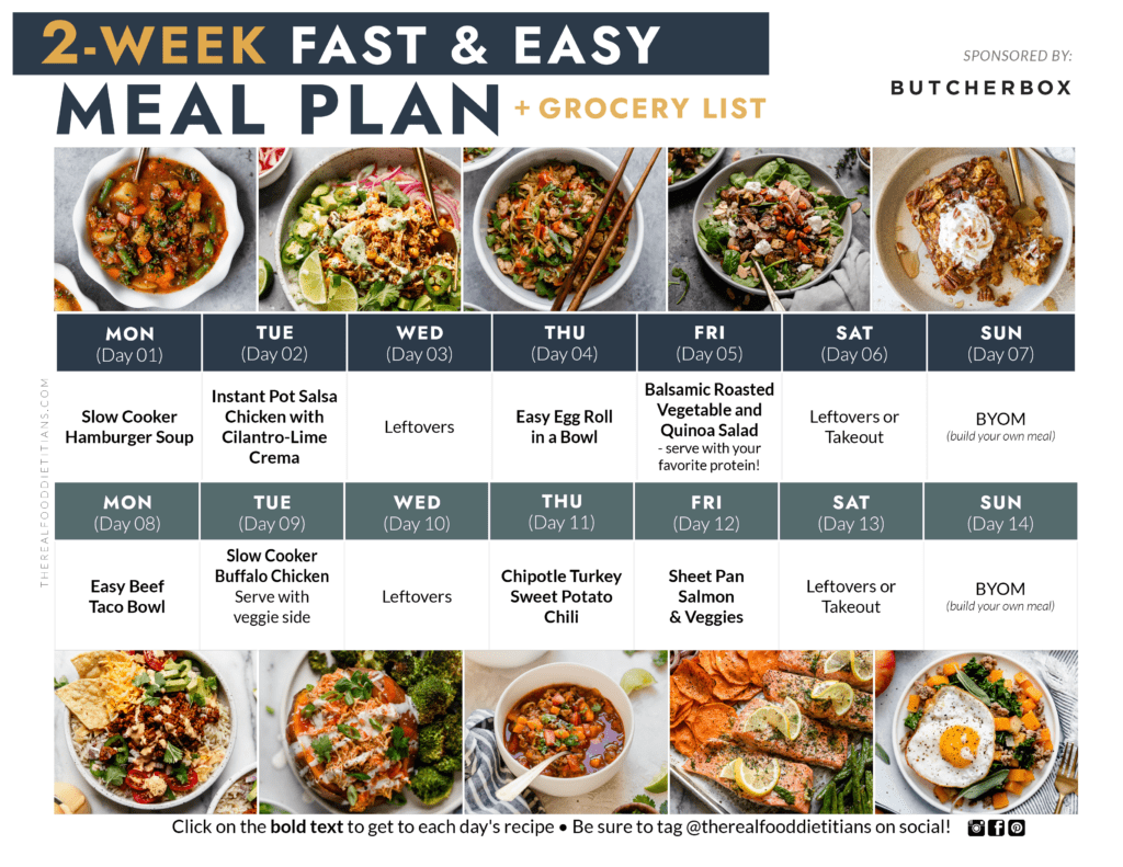 A two week meal plan with images of each dinner recipe for a printable.