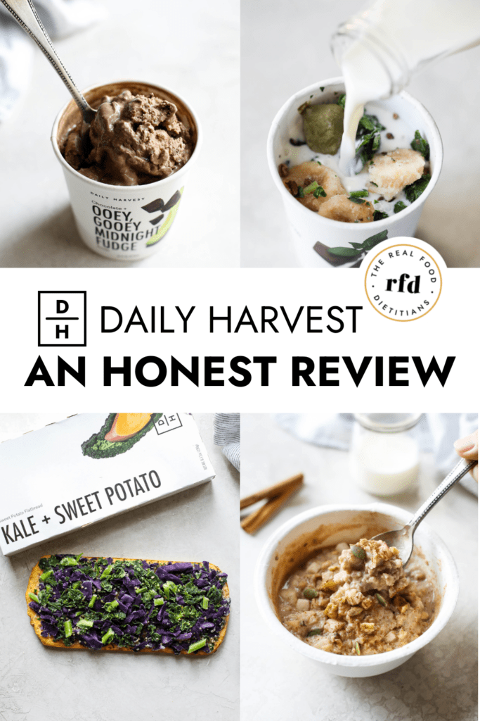 Four Daily Harvest frozen items with text overlay for a Pinterest Pin.