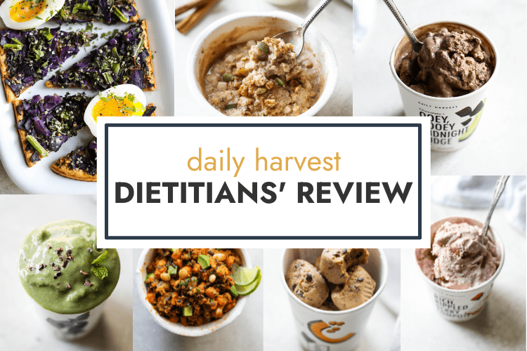 Seven images of Daily Harvest products of smoothie bowls, protein bites, veggie bowls, oatmeal, and sweet potato flatbread with a text overlay for a Header.