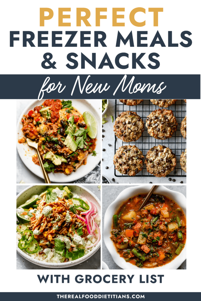 A collage of healthy dinners and snacks for a freezer meal and snack guide.