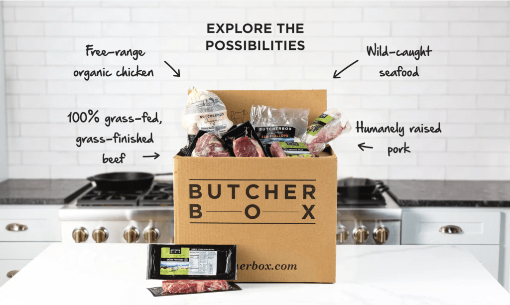 A Butcher Box sitting on a counter, opened, and showing all varieties of meats.