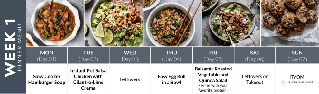Week 1 of a two-week meal plan with images of dinner recipes with recipe title below.