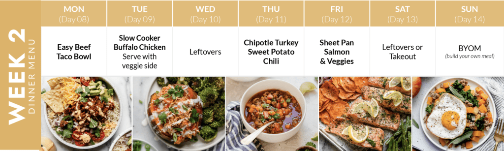Week 2 of a two-week meal plan featuring an image of each dinner recipe with name of recipe listed above image.