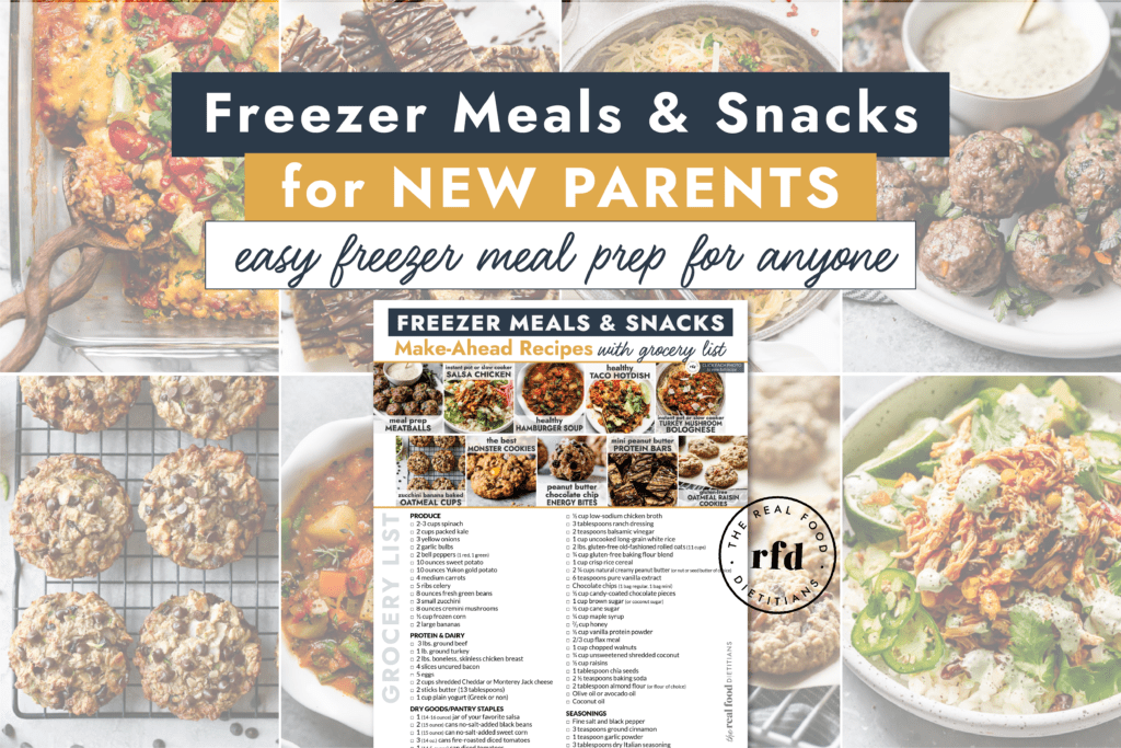 A collage of healthy meals and snacks with a pdf grocery list overlay