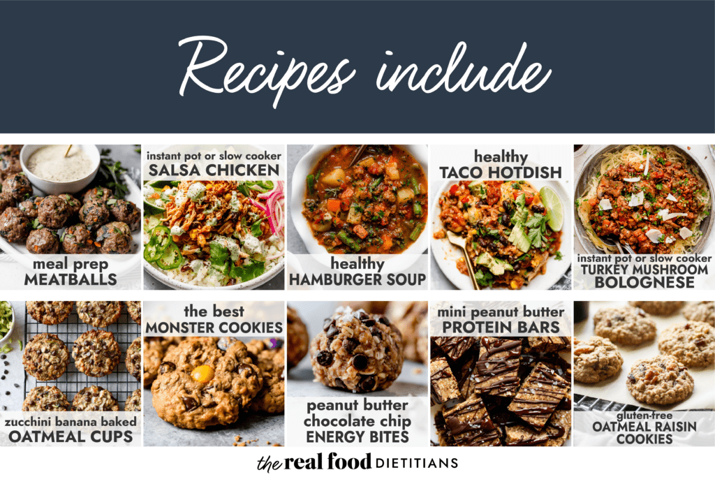 A collage of healthy dinners and snacks with title of recipe overlayed.